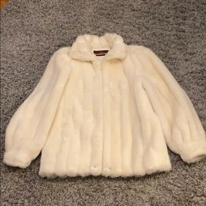 Vintage Jordache Cream Faux Fur Coat